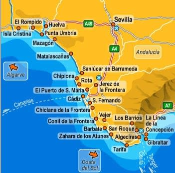 Cartina Jerez De La Frontera.Jerez De La Frontera Mappa